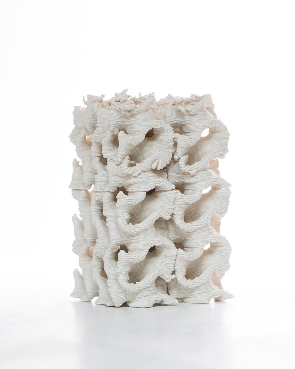 "Timea Tihanyi. ""Mystery. Solved. Mystery."" 2019. 3-D printed porcelain; modeled in Rhino and printed with a WASP40100 ceramic printer. 13 x 6 x 6 in. Photo by Mark Stone, University of Washington."