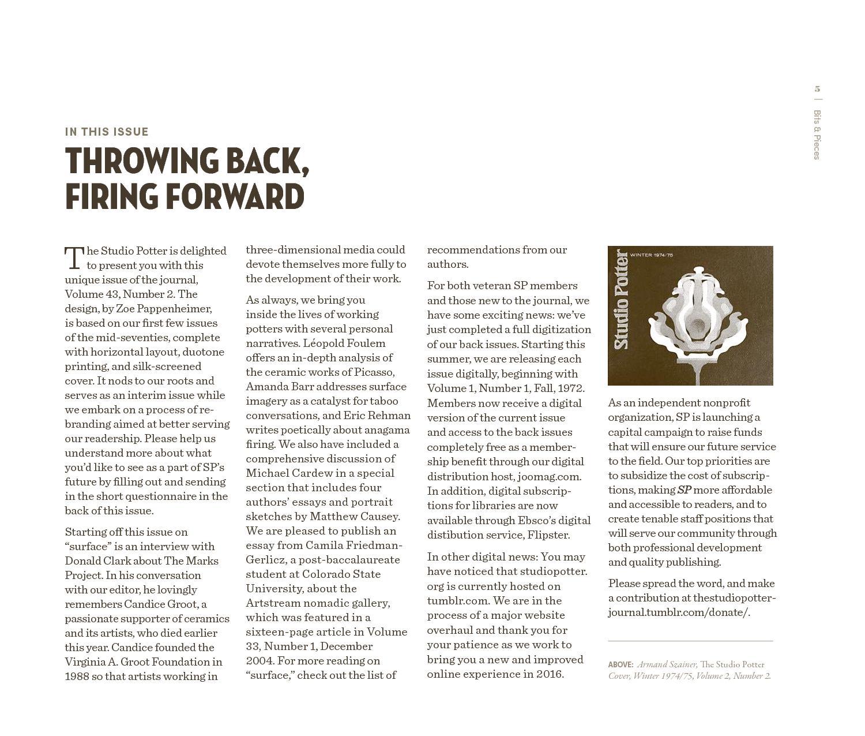 Digital Issue: Surface - Vol  43, No  2   Studio Potter