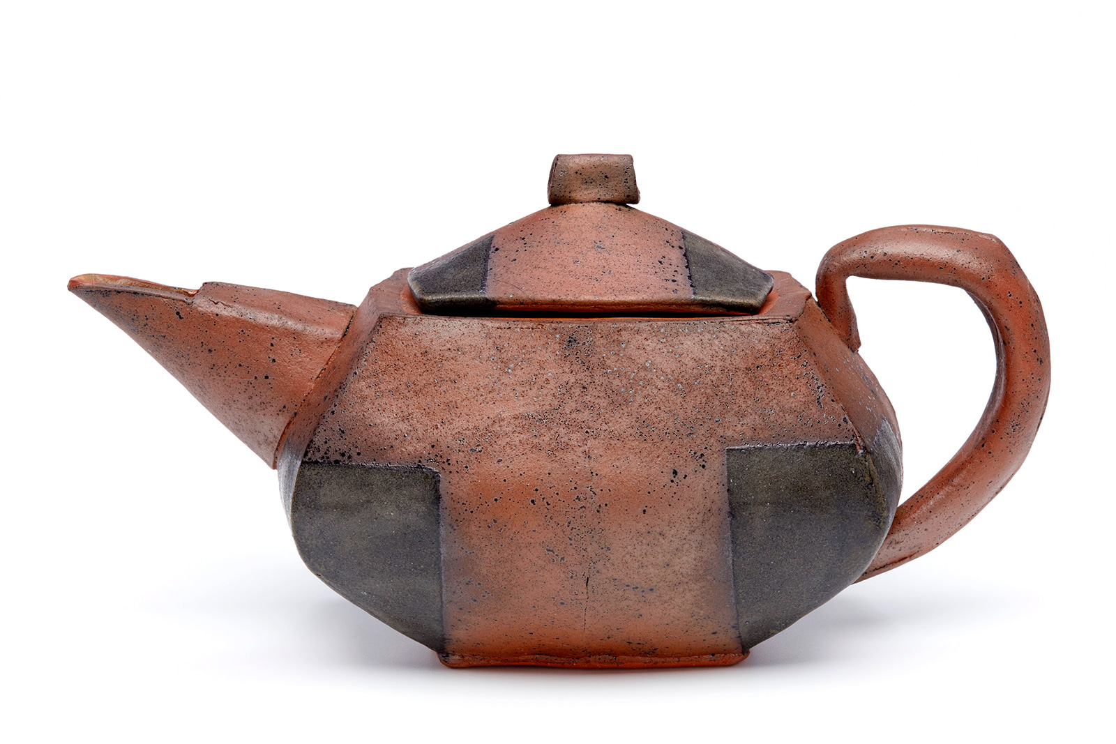 Mark Pharis. Teapot, 2015. Handbuilt earthenware, terra sigallata, woodash glaze with Mason stain 6600 (a chrome bearing black), Cone 04.