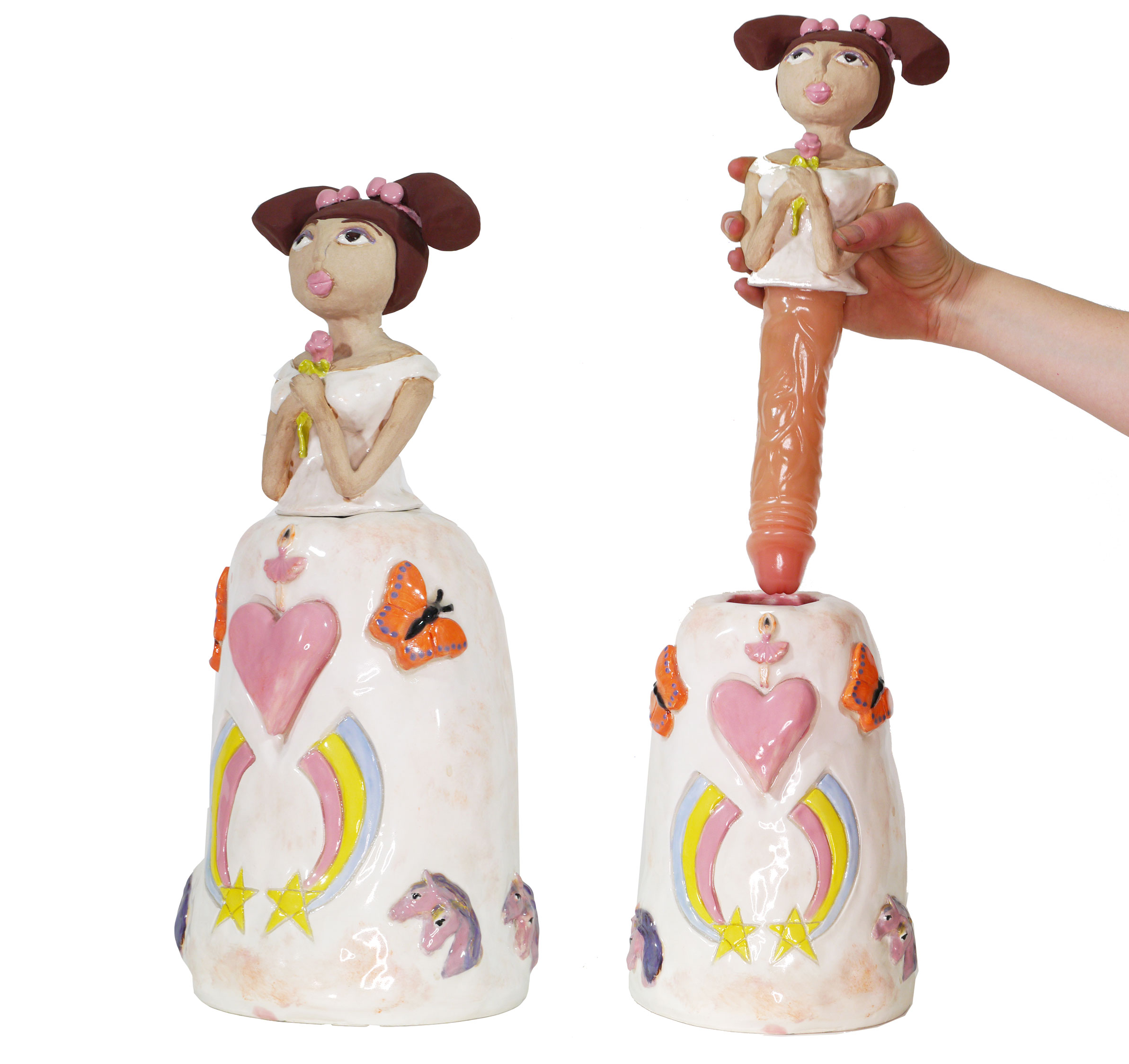 "Rebecca Goyette. Horsies and Butterflies Bride, Hand-built ceramic sculpture with silicone dildo insert, 19"" x 8"" x 8"", 2008"