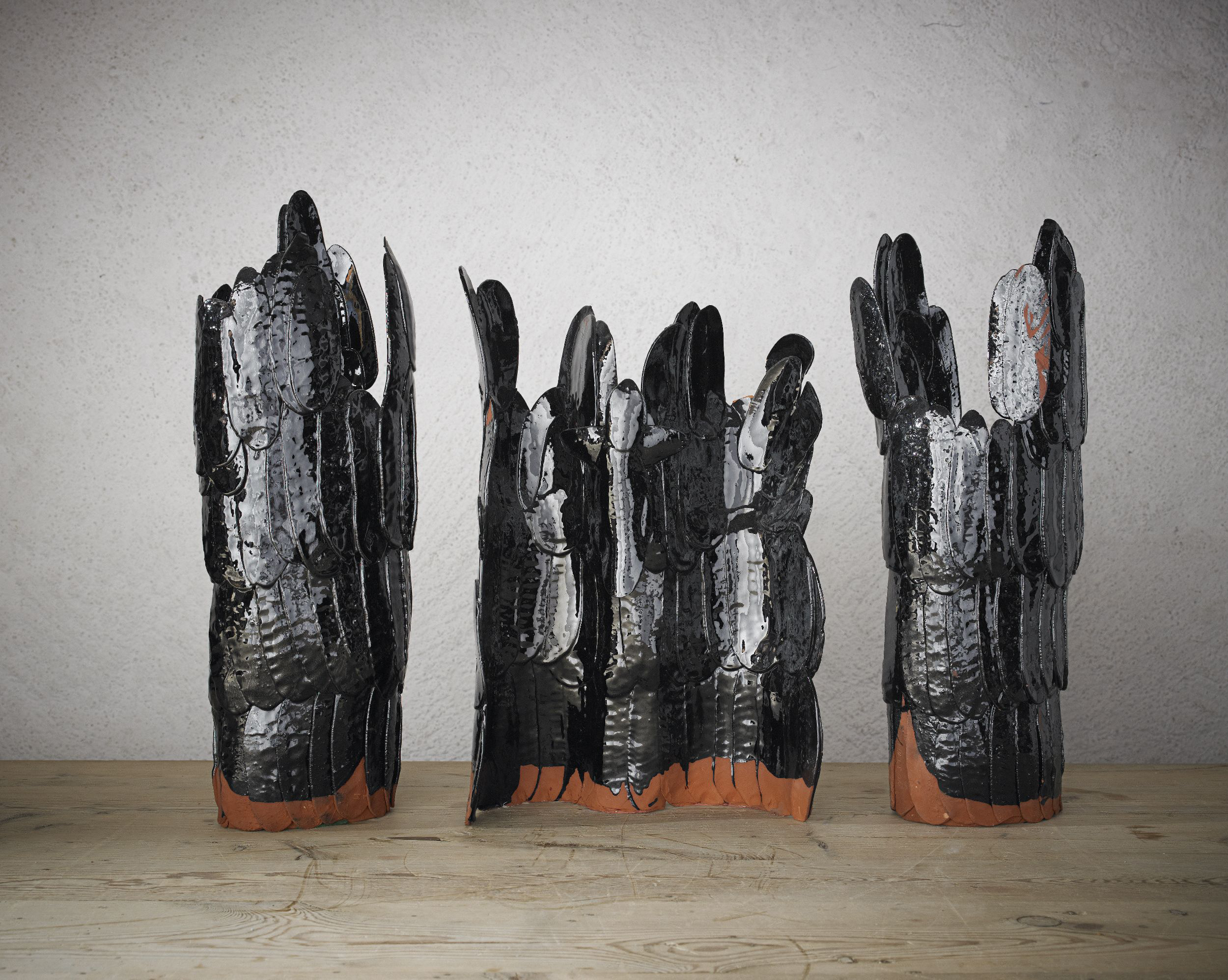 Hertha Hillfon. Friday/Calvary, 1963. Earthenware with black glaze,  19, 21, and 22 in. tall.