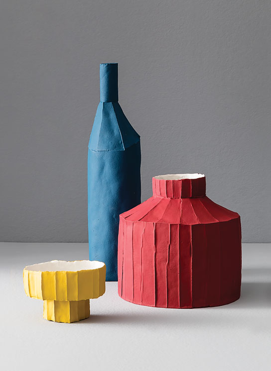 Paola Paronetto. Cartocci, 2018. Paper clay. Bottle height approx. 24 in. Photograph by Studio Auber.