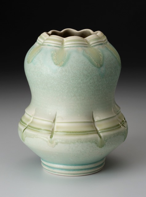 Aysha Peltz, Green Vase, 2016. 10 x 6 in. Wheel-thrown and altered. Cone 10 oxidation.