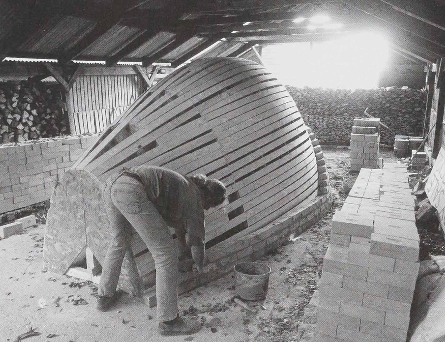 Svend Bayer building his kiln, 1994