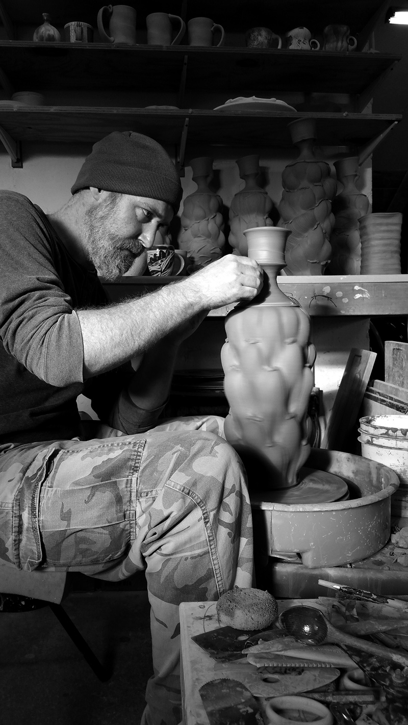 Eric Botbyl throwing pots for the Michiana Pottery Tour, 2015. Photograph by Andrew Clark.