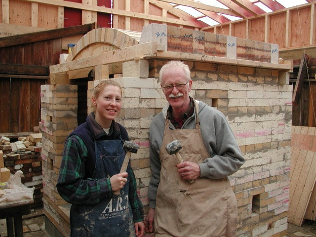 Melissa Vaughn and John working on the rebuild of his soda kiln, West Bloomfield, Michigan.