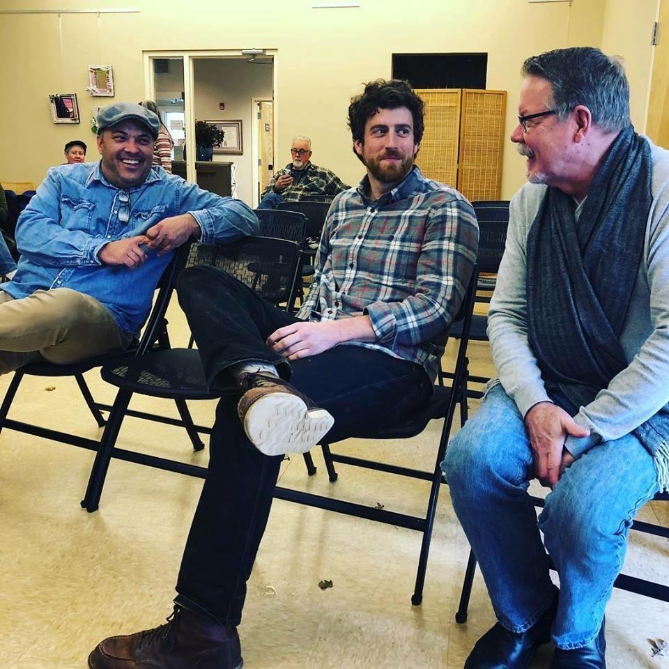 L to R: Seth Rainville, Stuart Gair, Mark Burns at Falmouth Arts Center, Falmouth, Massachusetts, 2017.