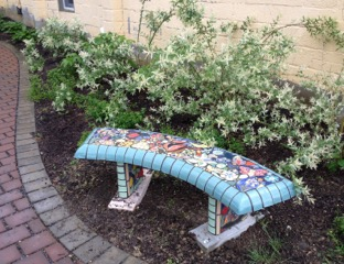 Eco-plaza mosaic bench detail at Perkins Art Center-Collingswood.