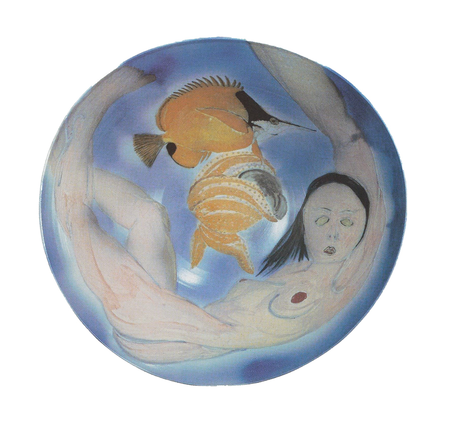 "Norm Schulman. ""From the Reef"" series, 1981. Engobe-painted, salt-glazed porcelain, 20 in."
