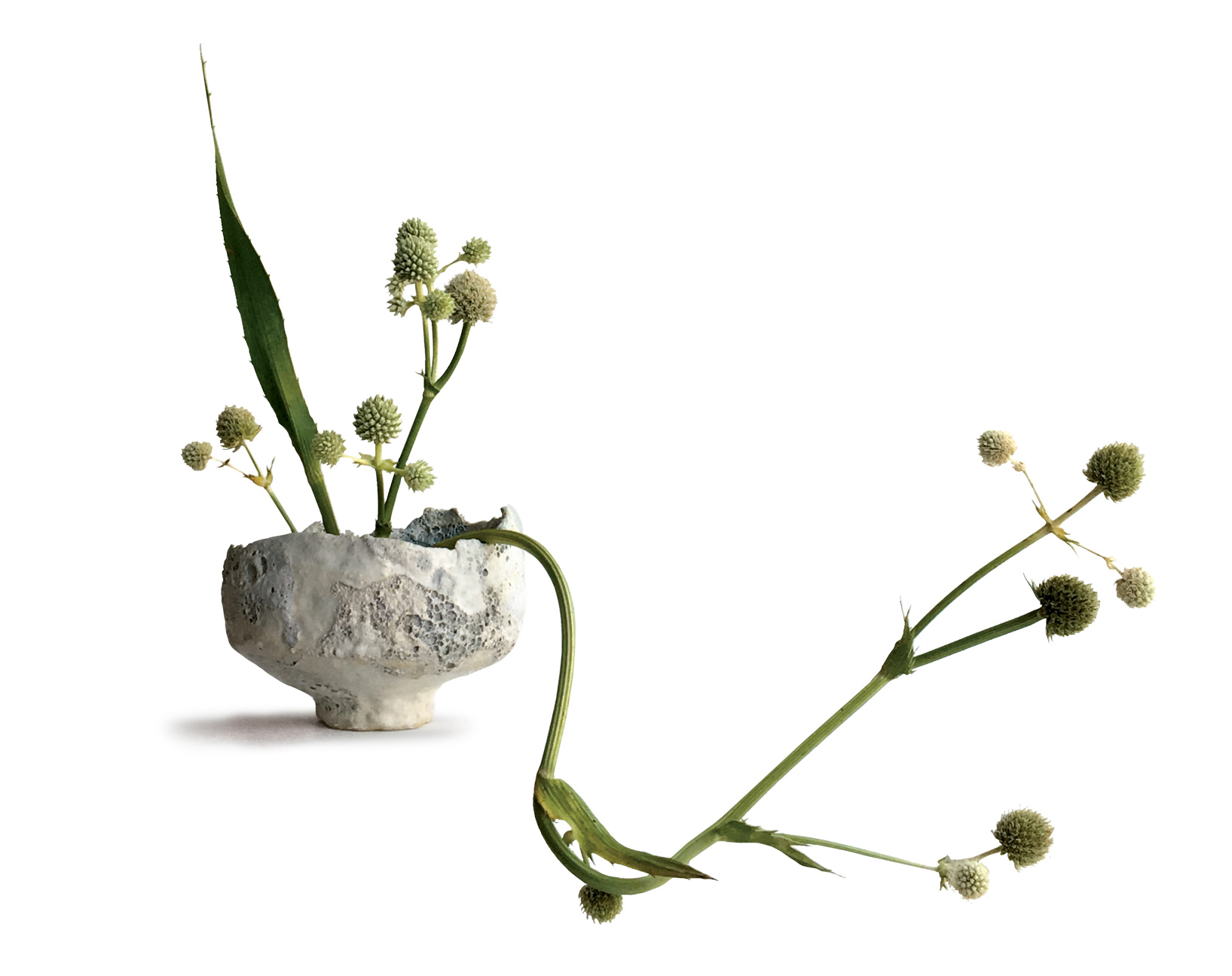 Simone Bodmer-Turner. Lichen Chawan. Sculpture body, white slip, crater and lava glazes. 6 x 6 x 5 in. Photograph by Nic Newcomb, 2017. Florals by Elevine Berge for Saipua.