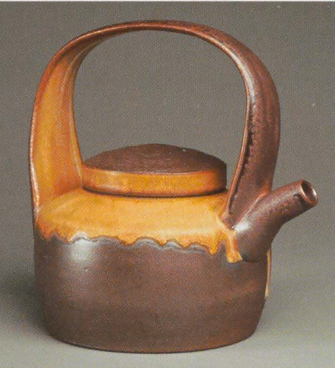 """Teakettle/Teapot, 2007. Glaze and naked exterior with soda/wood surface, 9 x 6""""x i2in"""