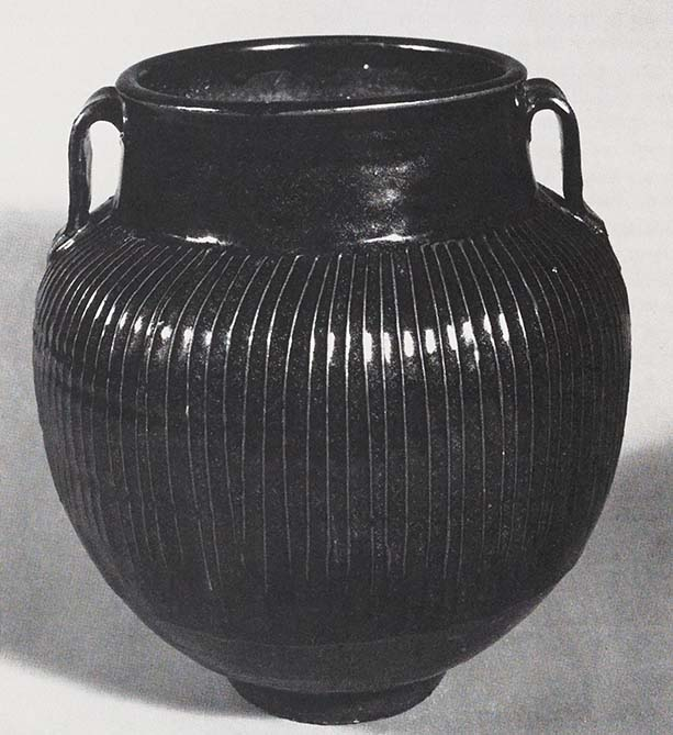 Large jar, Chinese, Northern Sung period, 11th century T'zu-chou ware, Black-glazed stoneware with applied ribing.