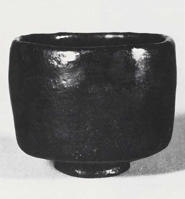 Tea bow, Japan, Momoyama period, end of 16th century, Raku ware, attributed to  Chojiro, Black-glazed raku pottery.