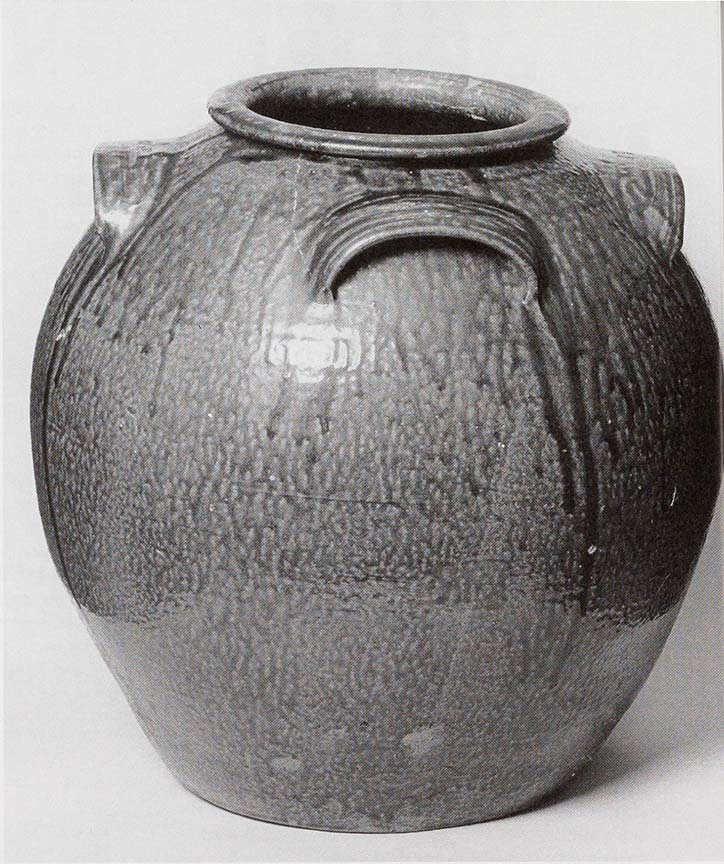 Alkaline-glazed stoneware fifteen gallon storage jar, Daniel Seagle (1805-1867), Catawba Valley, North Carolina.