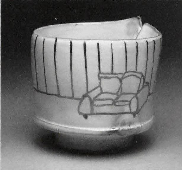 Yunomi, 2010. Earthenware, slip, glaze, luster. 3.5x3x3 in.