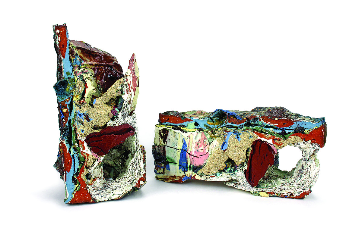 Jonathan Mess. Reclaim No. 26: Eastern and Western Cross Sections, 2015. Various reclaimed ceramic materials, solid cast and cut. 5.5 x 10 x 6 in. (left), 5.5 x 11 x 4.5 in. (right). Photo by Kate Mess.
