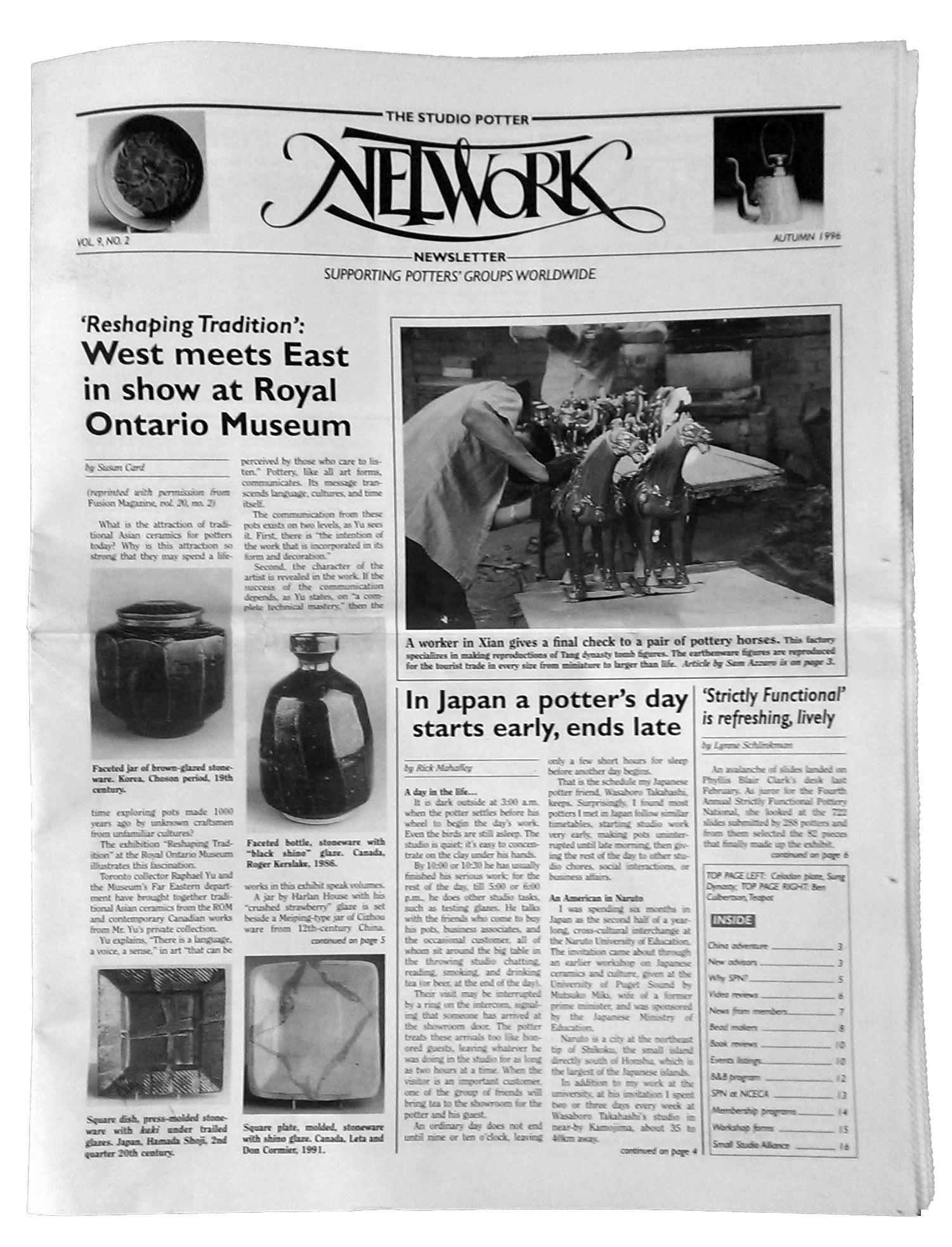 Studio Potter Network Newsletter, Vol. 9 No. 2, 1996.