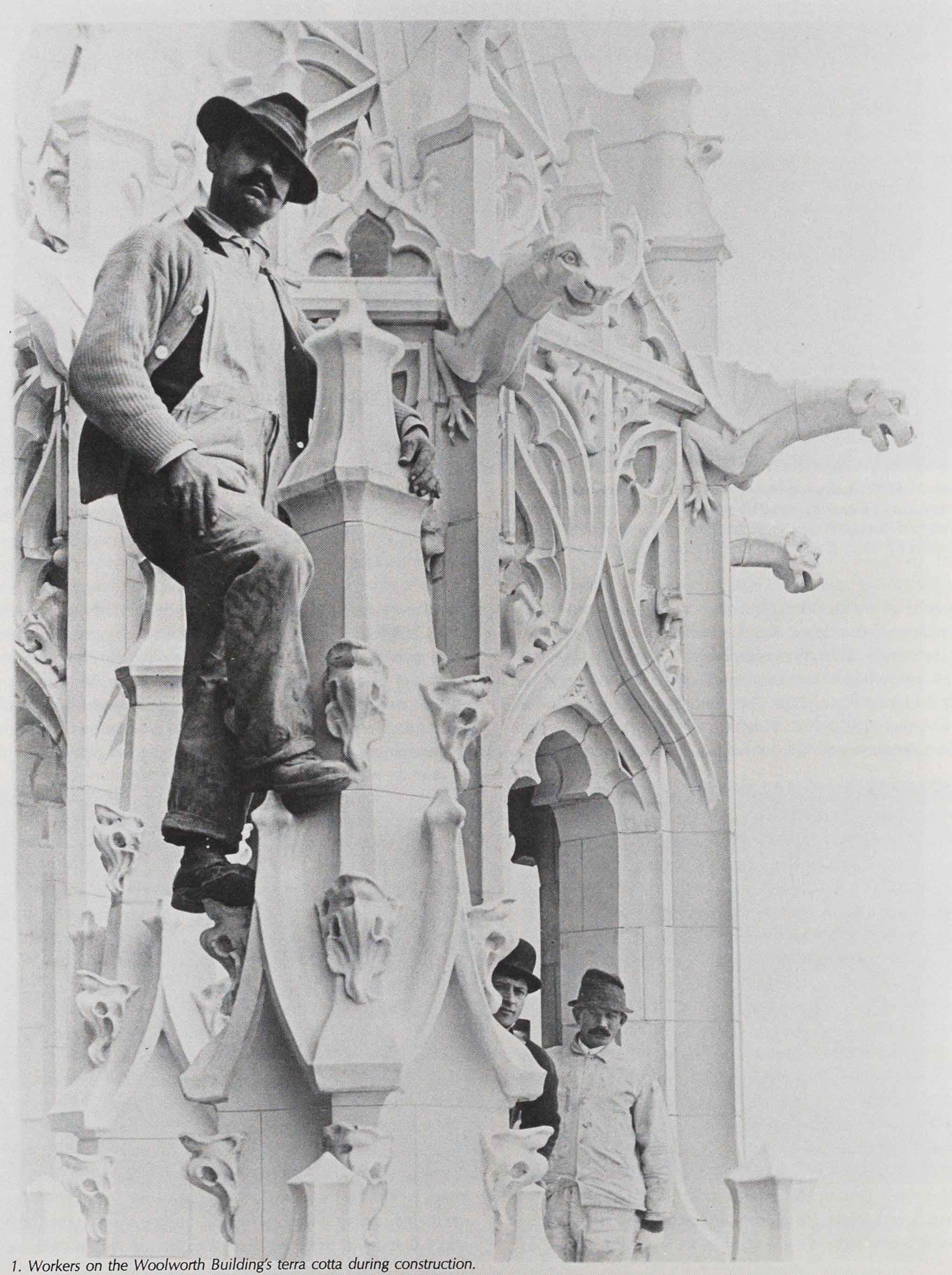 Workers on the Woolworth Building's terra cotta during construction, 1913.