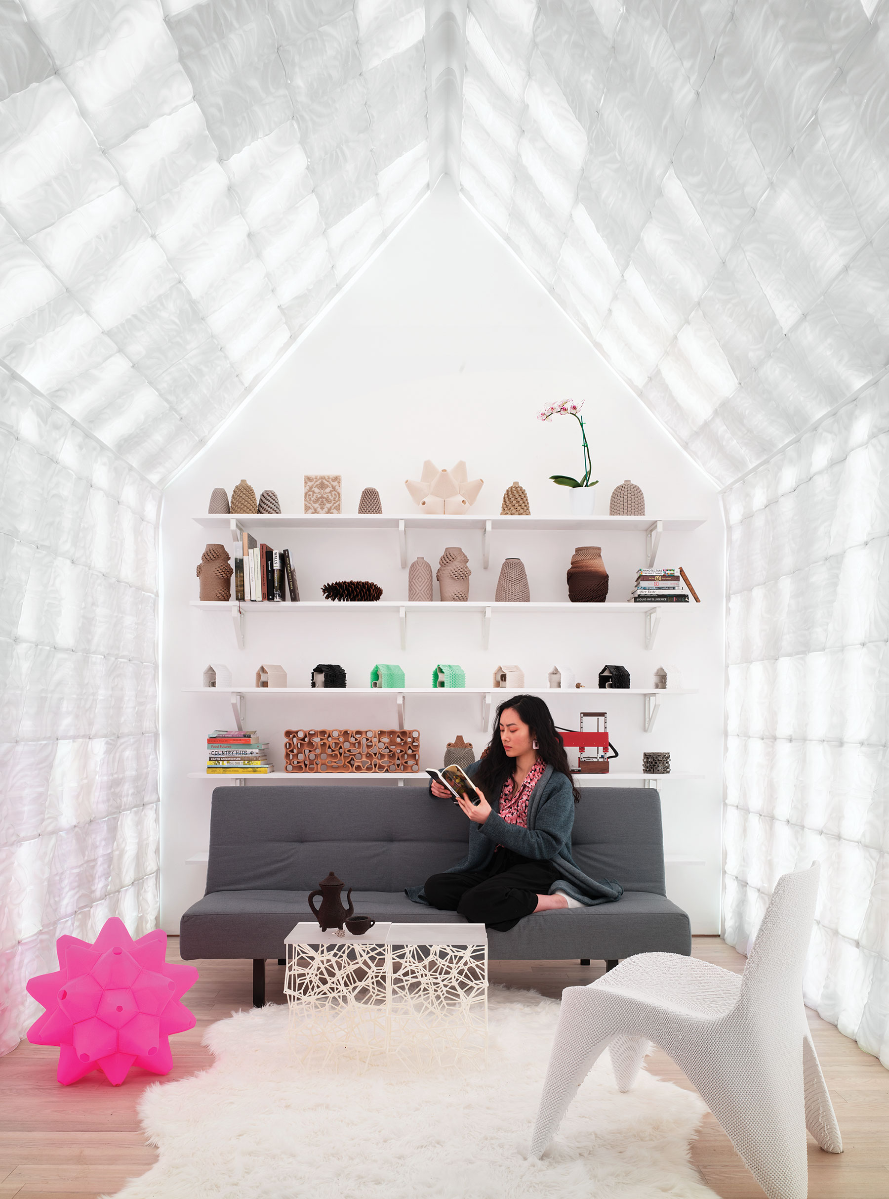 Ronald Rael, Cabin of 3D-Printed Curiosities (interior), 2018. Photo by Matthew Millman.
