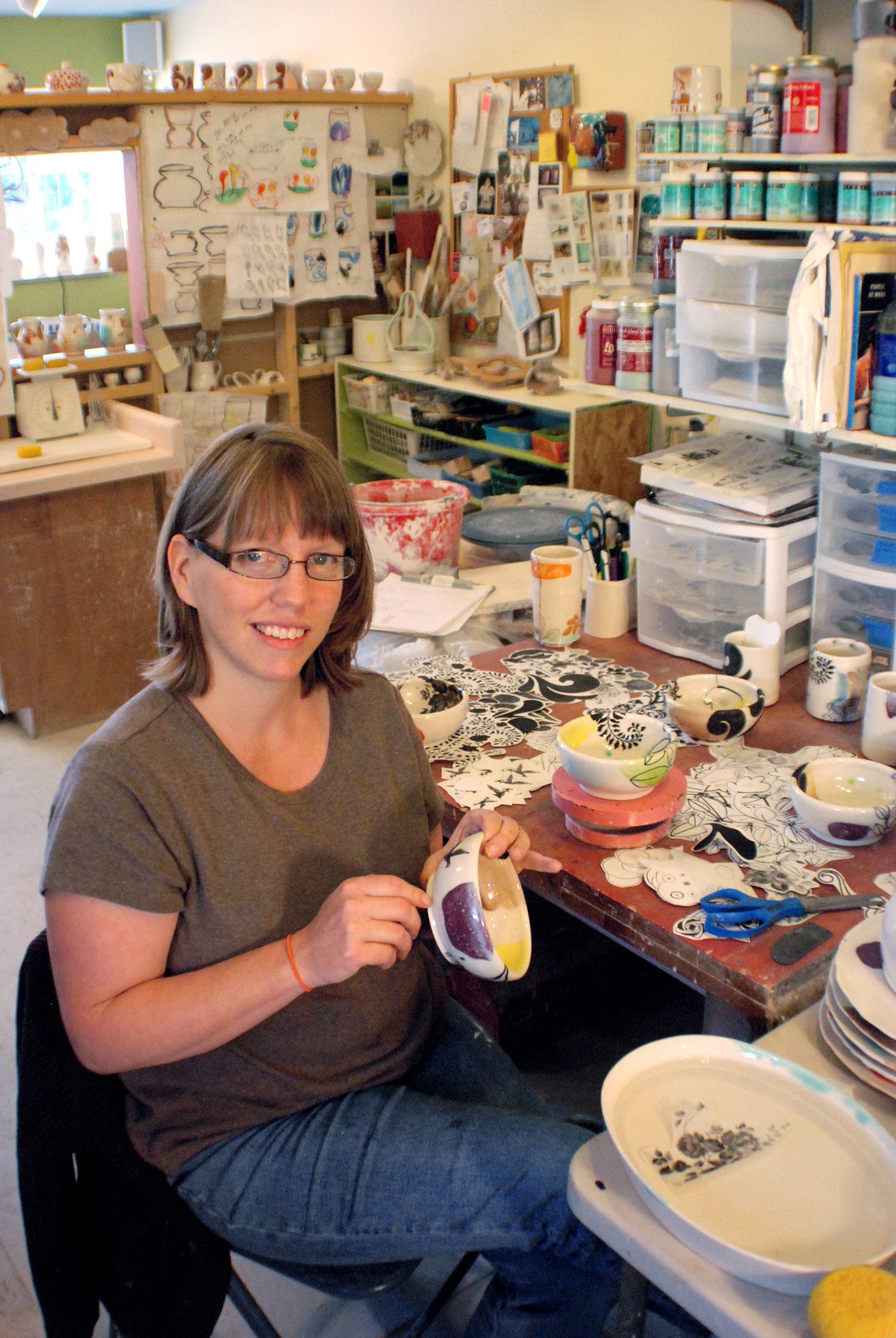 Beth Robinson in her studio, 2016.