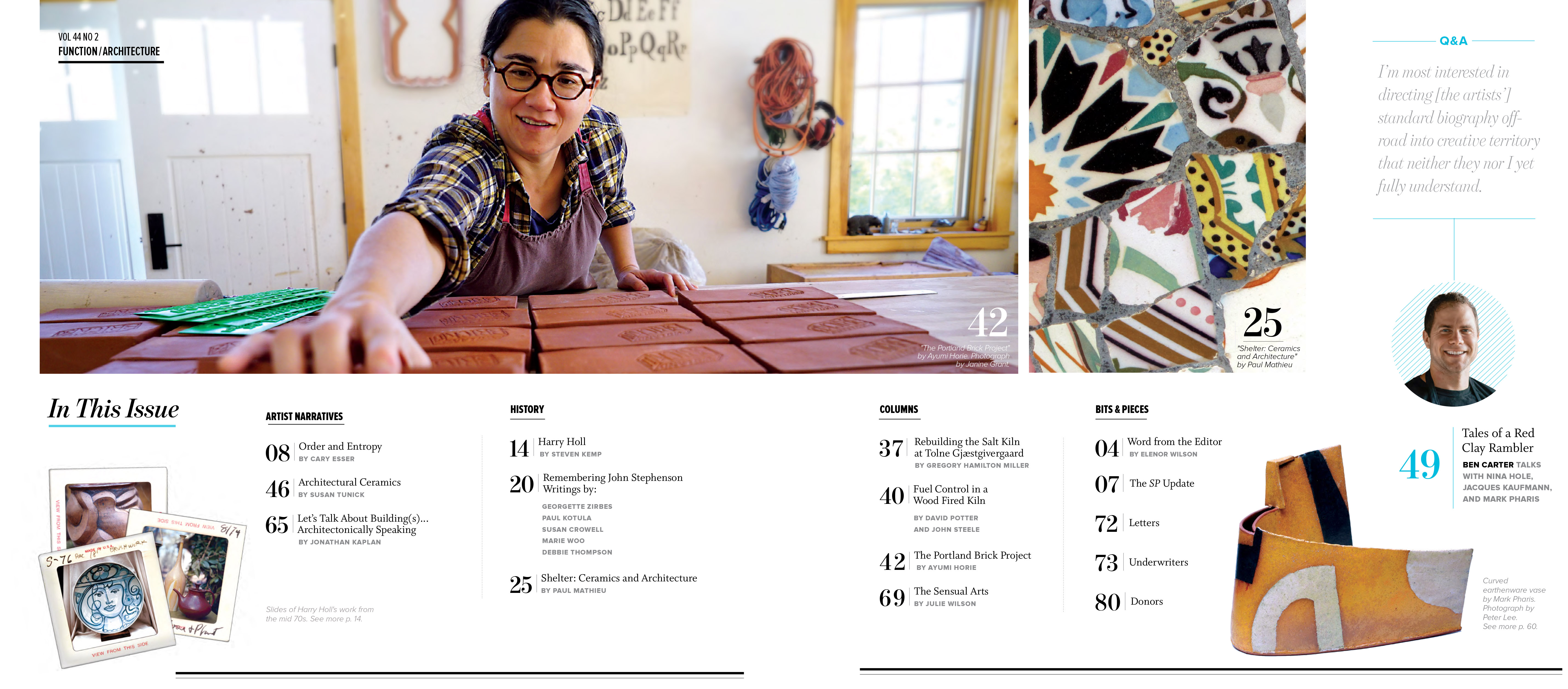 Studio Potter Journal, Vol. 44, No. 2, Function/Architecture, Contents Page
