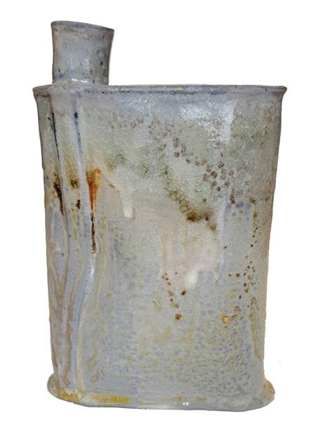 Seth Fallia. Flask, 2017. Wood-fired stoneware, 8 x 6 x 2 in. Photograph by artist.