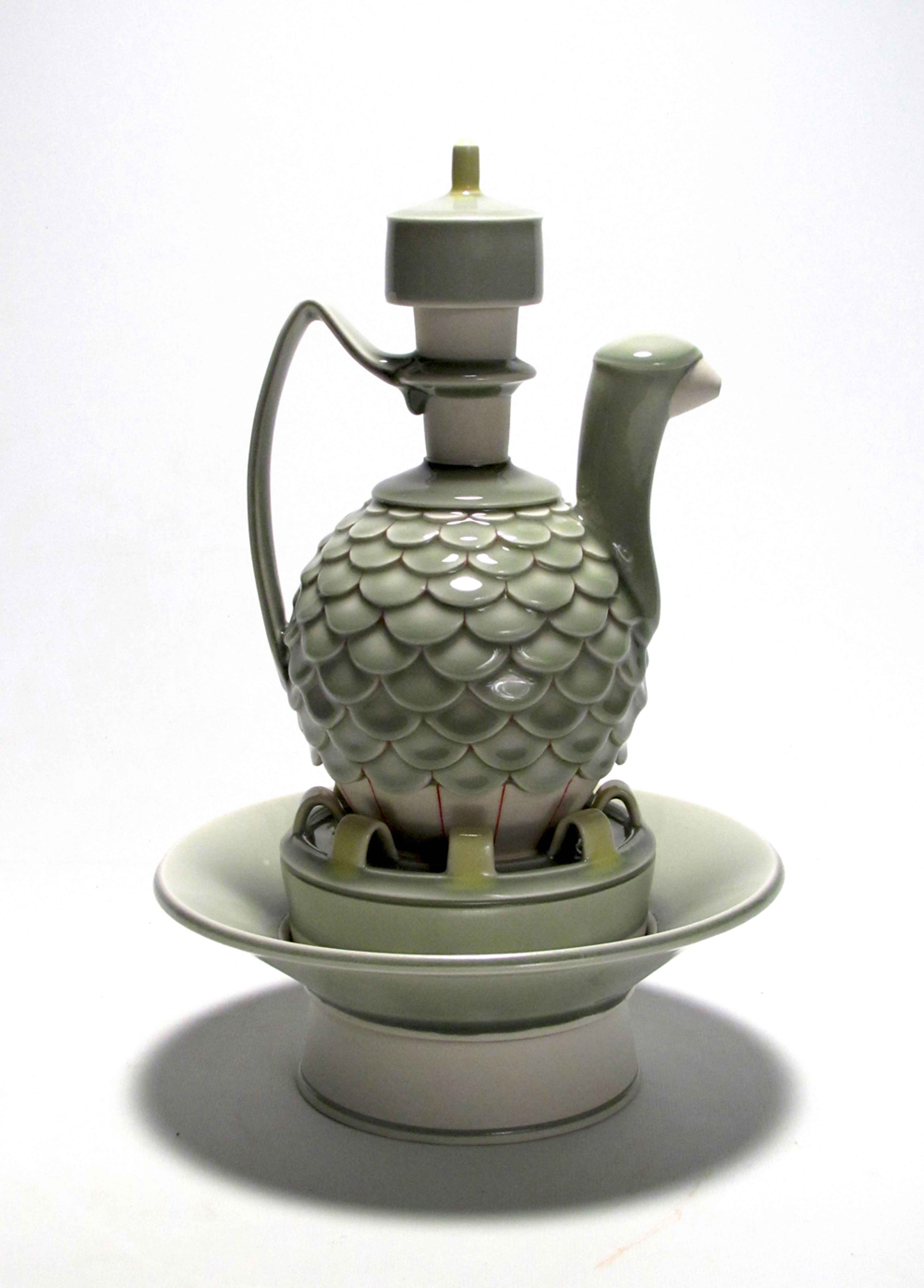 Shawn Spangler. Oil Ewer and Salt Cellar, 2010. Porcelain, Cone 8 ox. 10 x 9 x 9 in.