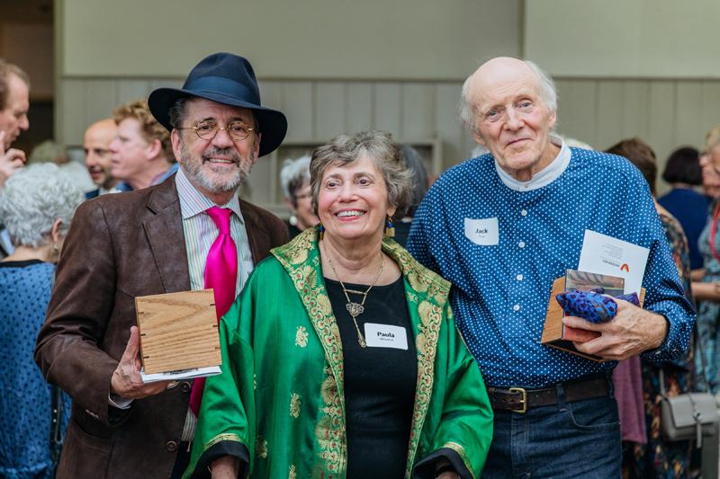 Left to Right: Wayne Higby, Paula Wonokur, Jack Troy, 2018. Photo courtesy of Watershed Center for the Ceramic Arts.
