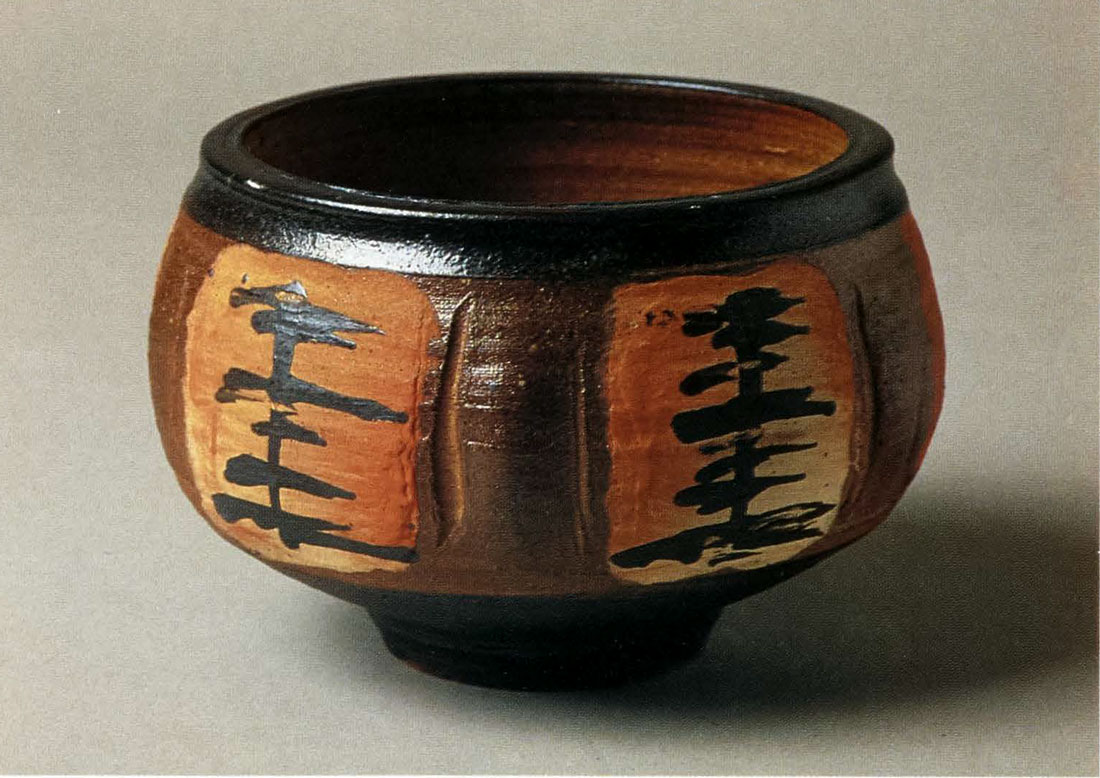 Large Bowl. Woodfired, Avery Slip and Black Slip Design, Wheel-thrown and Distorted. 9 1/2 in. x 12 in. 1993.