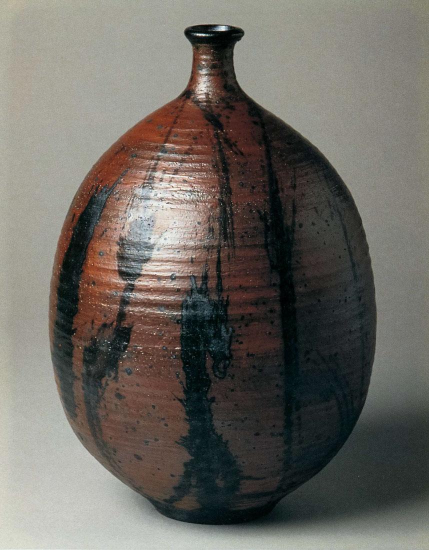 Woodfired Bottle. Stonewaree, Avery Slip Brushed With Black Slip. 15 in. x 9 in. 1993.