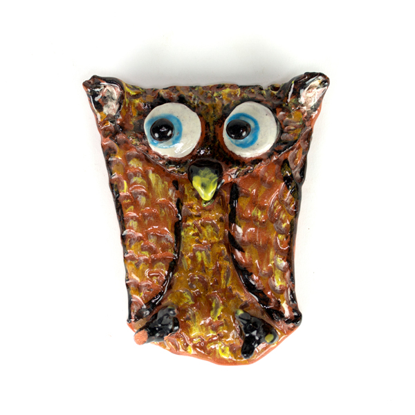 A teaching artists sample of the folded-owl project, in which participants can build texture with limited manual dexterity.
