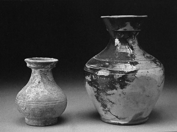 "Chinese Han Vase and Jugtown ""Han"" Vase turned by Ben Owen Senior ©1930. 7x 4x 4 in. and 11 x 8x 8 in. Photograph by Ben Owen III"