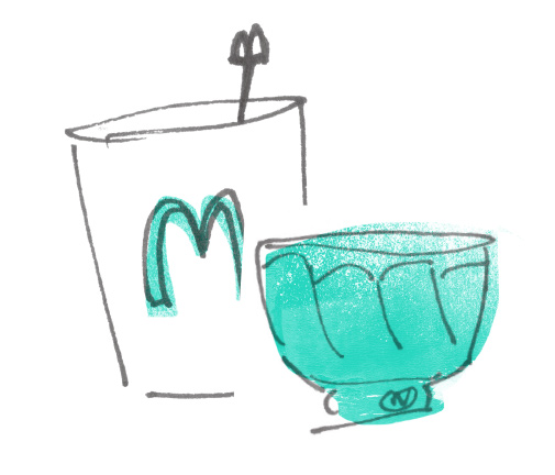 Teabowl and corporate cup doodle by Elenor Wilson, 2016.
