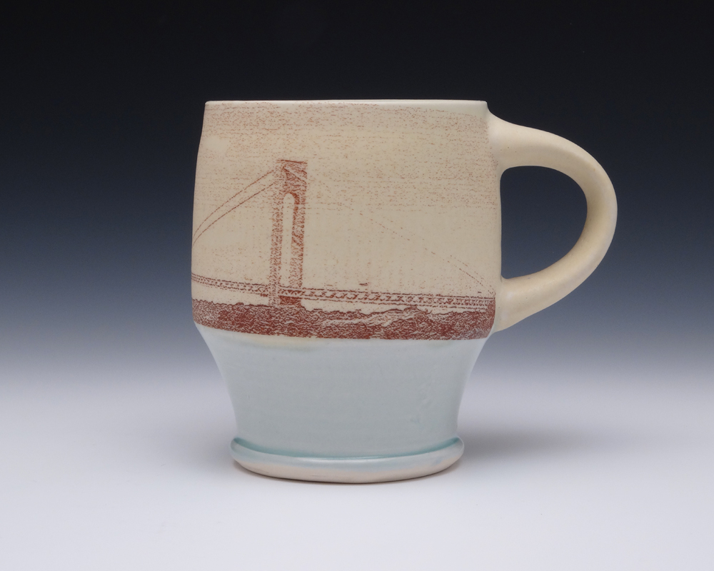 Frank Saliani. Verrazano Bridge Mug, 2014. Porcelain, cone 6 oxidation. 4.5 in. H. Photo by artist.