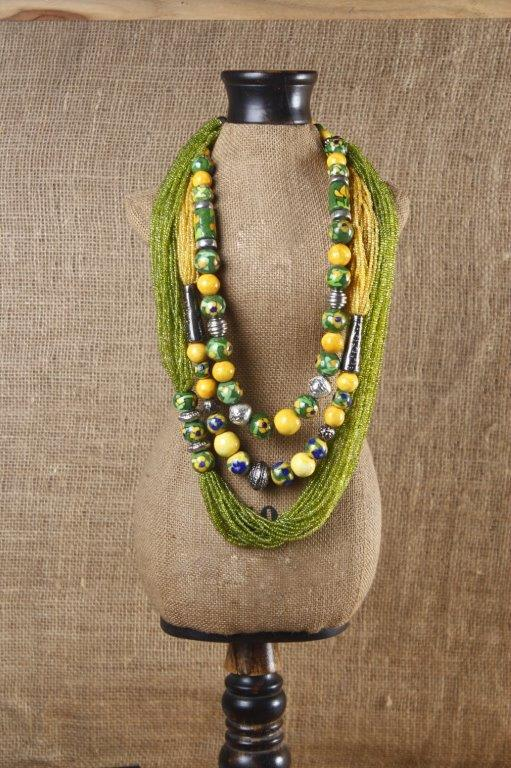 Neerja International. Necklace made with the Jaipur blue pottery beads. The beads are threaded using the technique of 'Patwa,' traditional craft of Jaipur.
