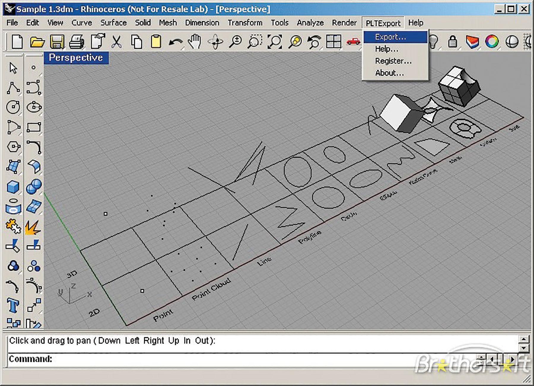 Screenshot of Rhinoceros software. Photo courtesy of Richard Burkett.