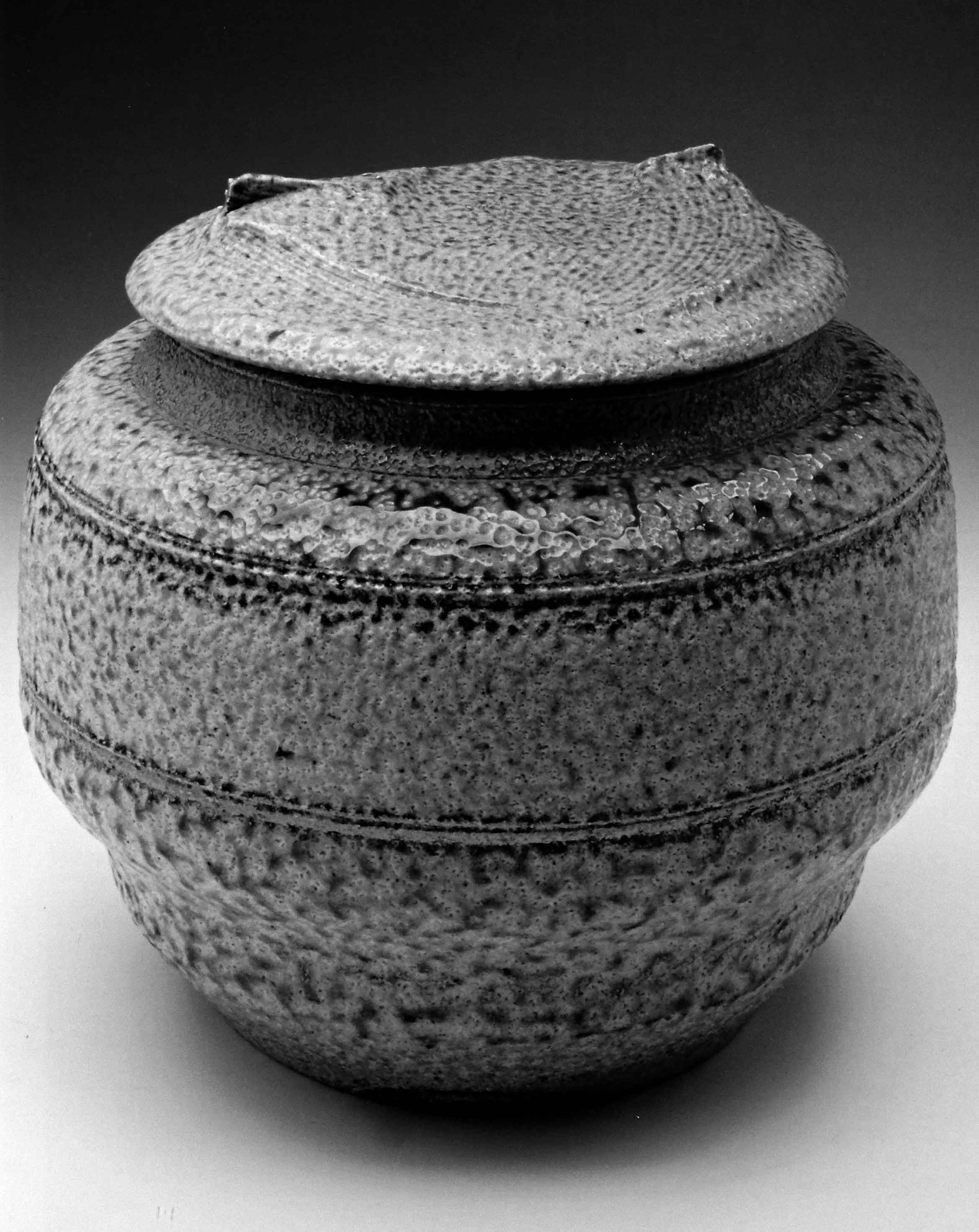 Karen Karnes. Covered Jar, c. 1972. Stoneware, salt-glazed, 7.5 x 7.5 in. Collection of Michael and Rose Peck. Photograph by Anthony Cunha, courtesy of the ASU Art Museum Ceramics Research Center. From Vol. 39, No. 1, 2011.