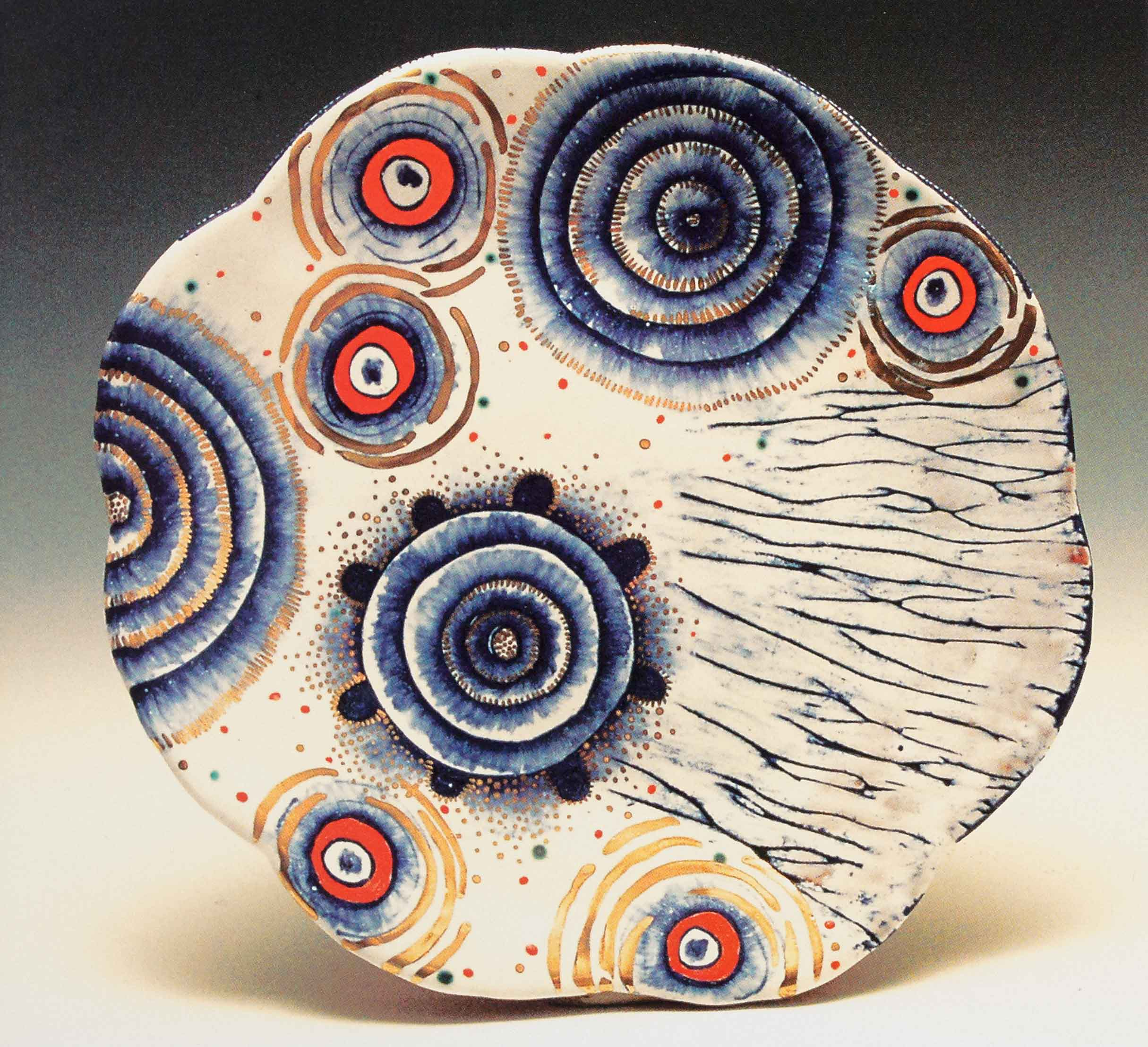 Static Lunch Plate, 2007. Terracotta, maiolica, luster, glass enamels.