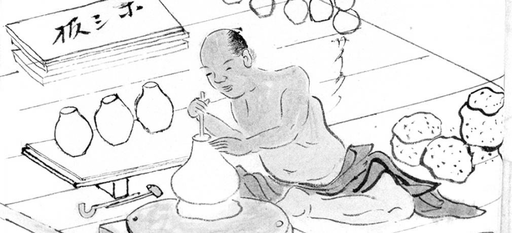 A workshop making teapots in Shigaraki, 1872.