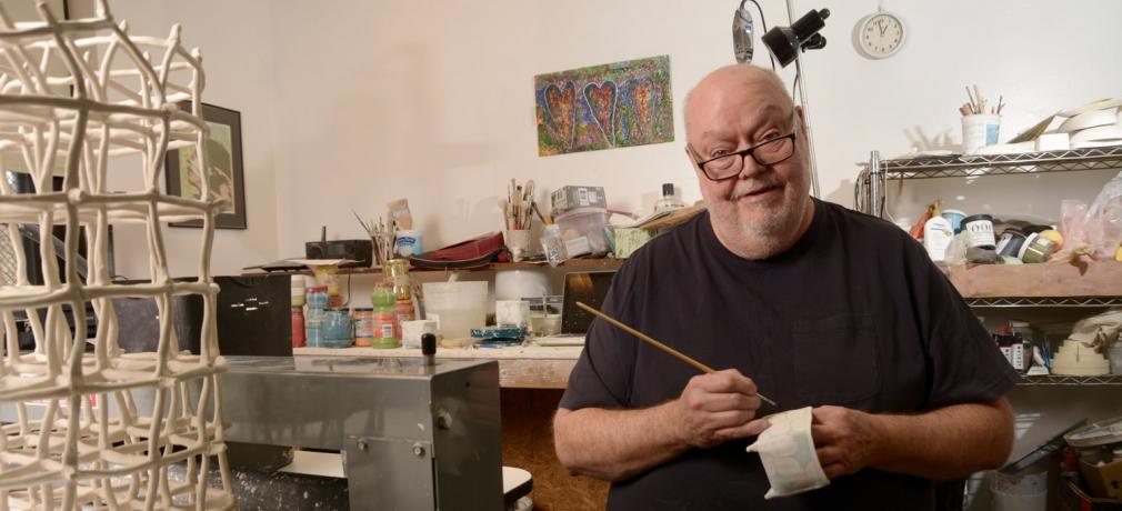 Jerry Bennett in his studio, Philadelphia, Pennsylvania, 2018.