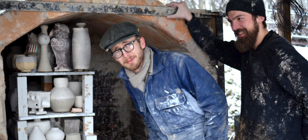 Joel and Emil ready to fire the newly rebuilt kiln.