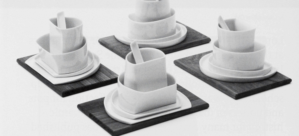 4 S q u a r e, 200g. Porcelain and wood, slip-cast from plaster molds and models.