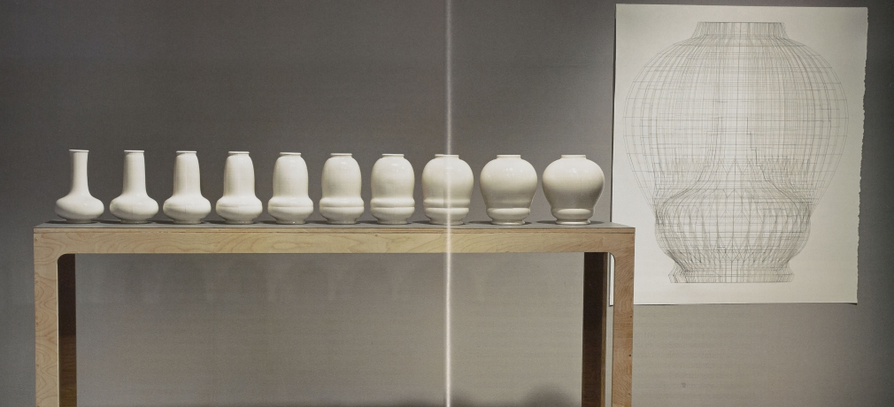 Del Harrow, Air_Breath, 2012. Slip cast porcelain, glaze, video, large drawing created using a graphite pencil attached to a CNC milling machine.