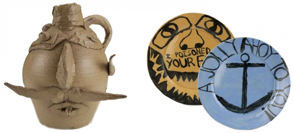 Left: Collaborative Face Jug by McCarthy and his student, Ben Z. Right: Plates by Ben Z.