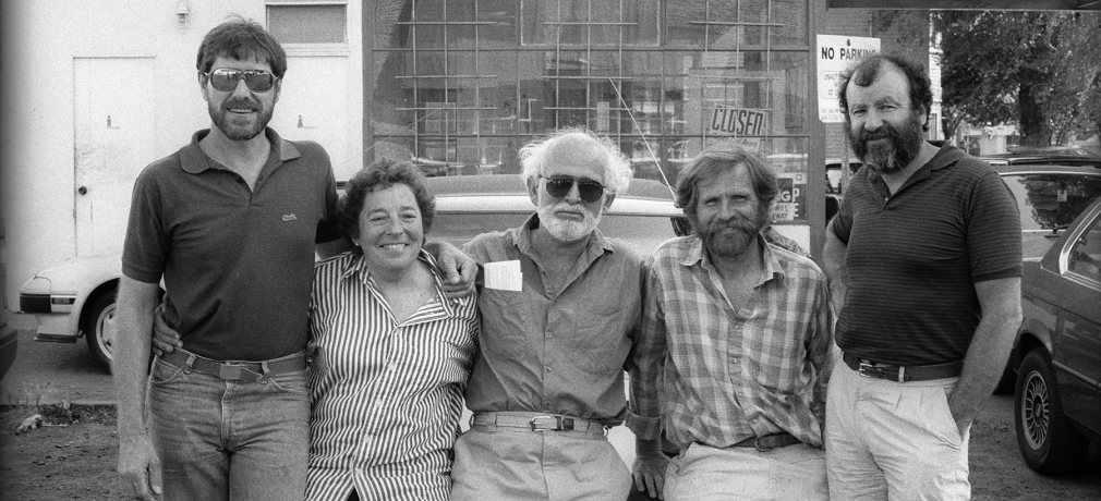 Ruth Rippon with Stephen Kaltenbach, Robert Arneson, Peter VandenBerge, and Gerald Walburg in downtown Sacramento, 1987. Photo courtesy of Michael Hough.