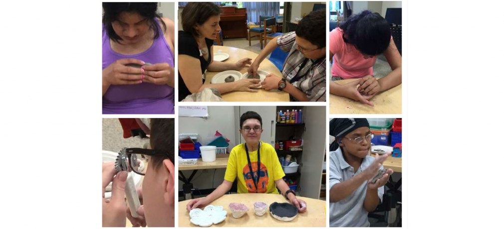 Students work with clay at the Perkins School for the Blind, Watertown, Massachusetts. Top, center: author Elizabeth Cohen (left) with a student.