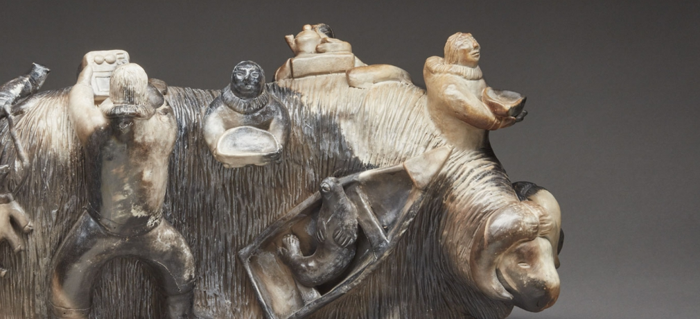 Roger Aksadjuak, Shaman's Muskox, date unknown. Smoke-fired ceramic, in the collection of Marnie Schreibe.