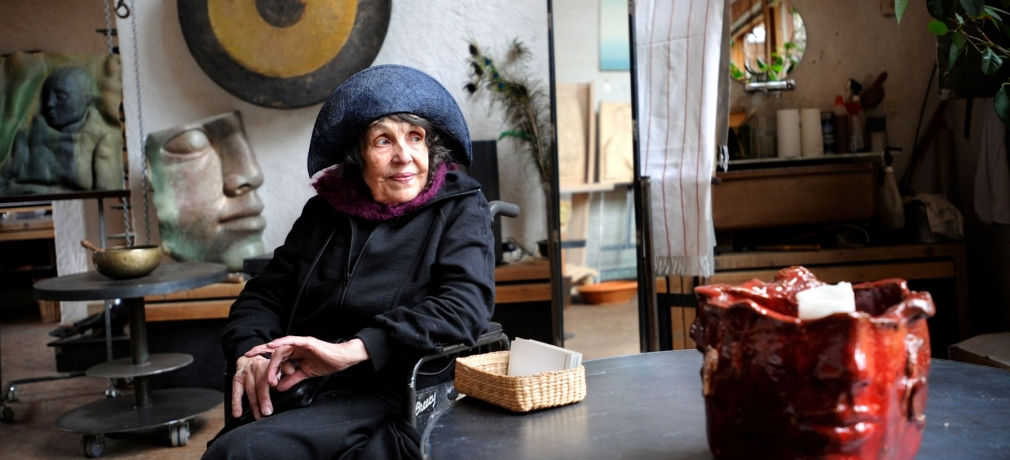 The artist and sculptor Hertha Hillfon in her studio, Hägersten, Stockholm, Sweden, 2008. Photo by Dan Hansson, 2008; courtesy of TT/Sipa USA.