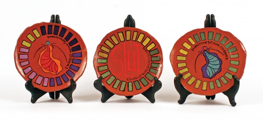 Dani Sigler. Birth Control Plates, 2013. Red Earthenware, underglazes, glazes. 8 x 1.5 in. each. Photo by artist.