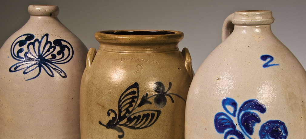 Edmunds & Co., Salt glazed stoneware jugs and jar with cobalt slip-tailed decoration. 14 x 8 in. (jugs), 13 x 8 in. (jar). Photo by Joseph Szalay.